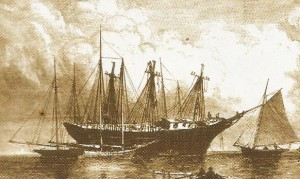 A ship in Key West Harbor similar to the Isaac Allerton.