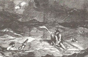"WRECK OF THE CENTRAL AMERICA, Adrift on the Ocean. Engraving from ""Harper's Weekly"" October 3, 1857, courtesy Schindler's Antiques, Charleston, South Carolina"
