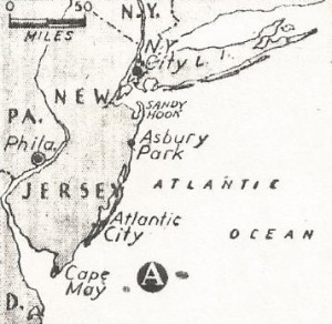 Map locates Cape May, NJ off which (A) U.S. Destroyer Jacob Jones was sunk by enemy submarine.
