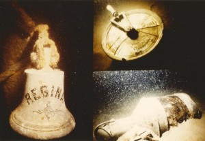 The Regina's bell, telegraph, and lantern. Telegraph reveals the captain had shut down her steam engines before she sank.