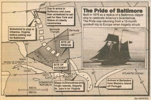 Pride of Baltimore Sank in Bermuda Triangle. Credit: Baltimore Sun